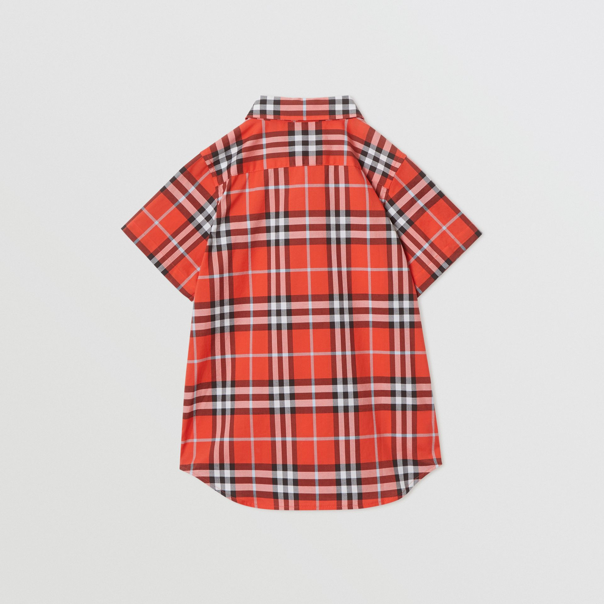 Short-sleeve Check Cotton Shirt in Orange Red | Burberry Canada - gallery image 3