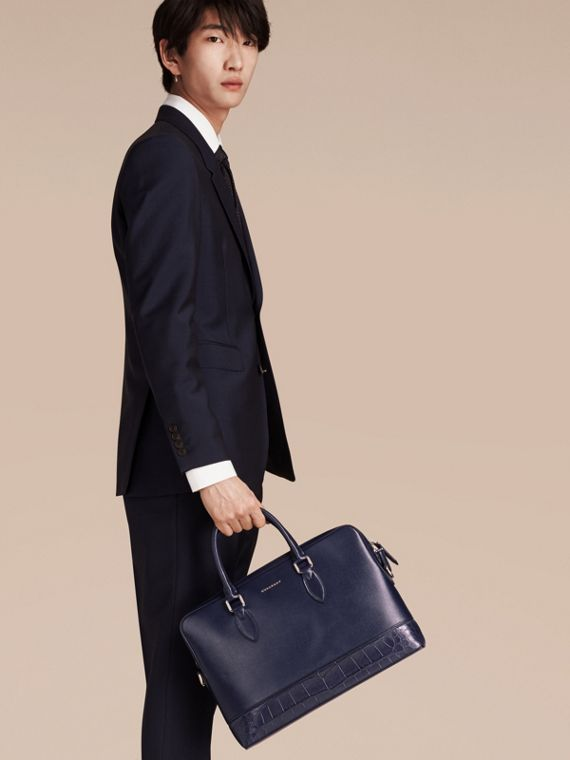 Sac The Barrow fin en cuir London et alligator (Marine Foncé) - Homme | Burberry - cell image 2