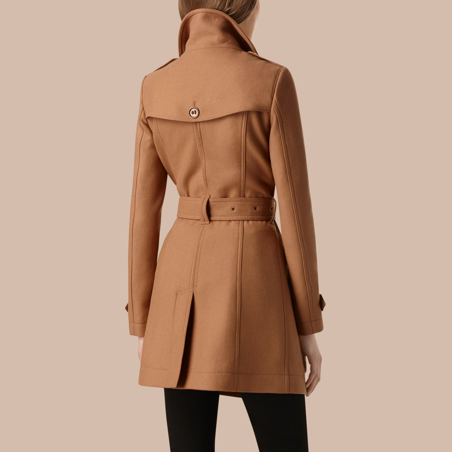 Camel Short Double Wool Twill Trench Coat Camel - gallery image 3