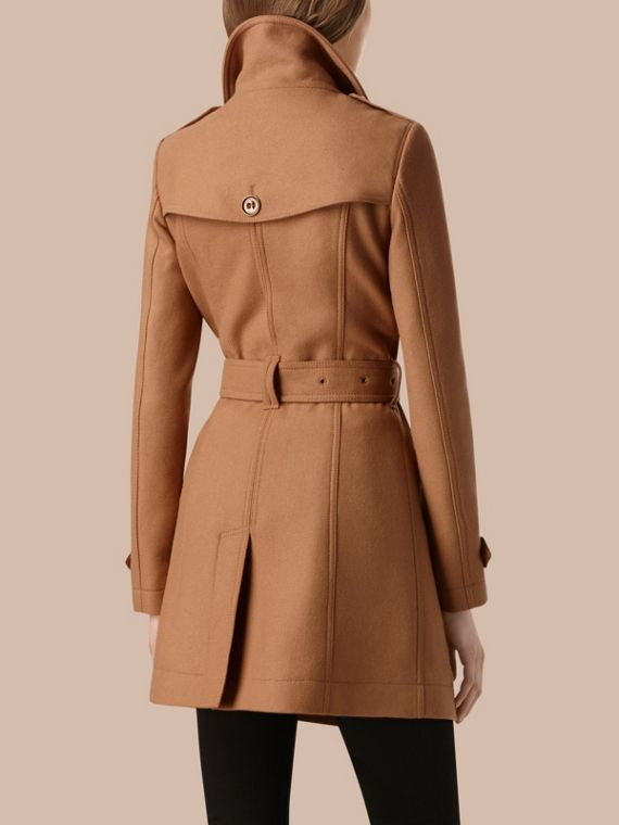 Camel Short Double Wool Twill Trench Coat Camel - cell image 2