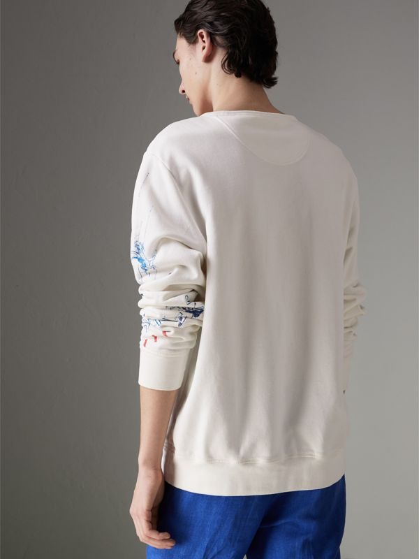 Adventure Print Cotton Sweatshirt in Natural White - Men | Burberry Australia - cell image 2