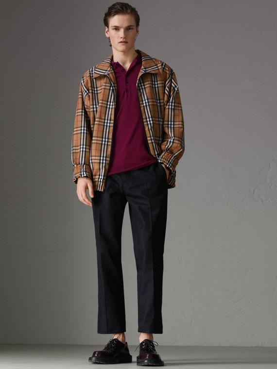 Knitted Silk Polo Shirt in Dark Crimson