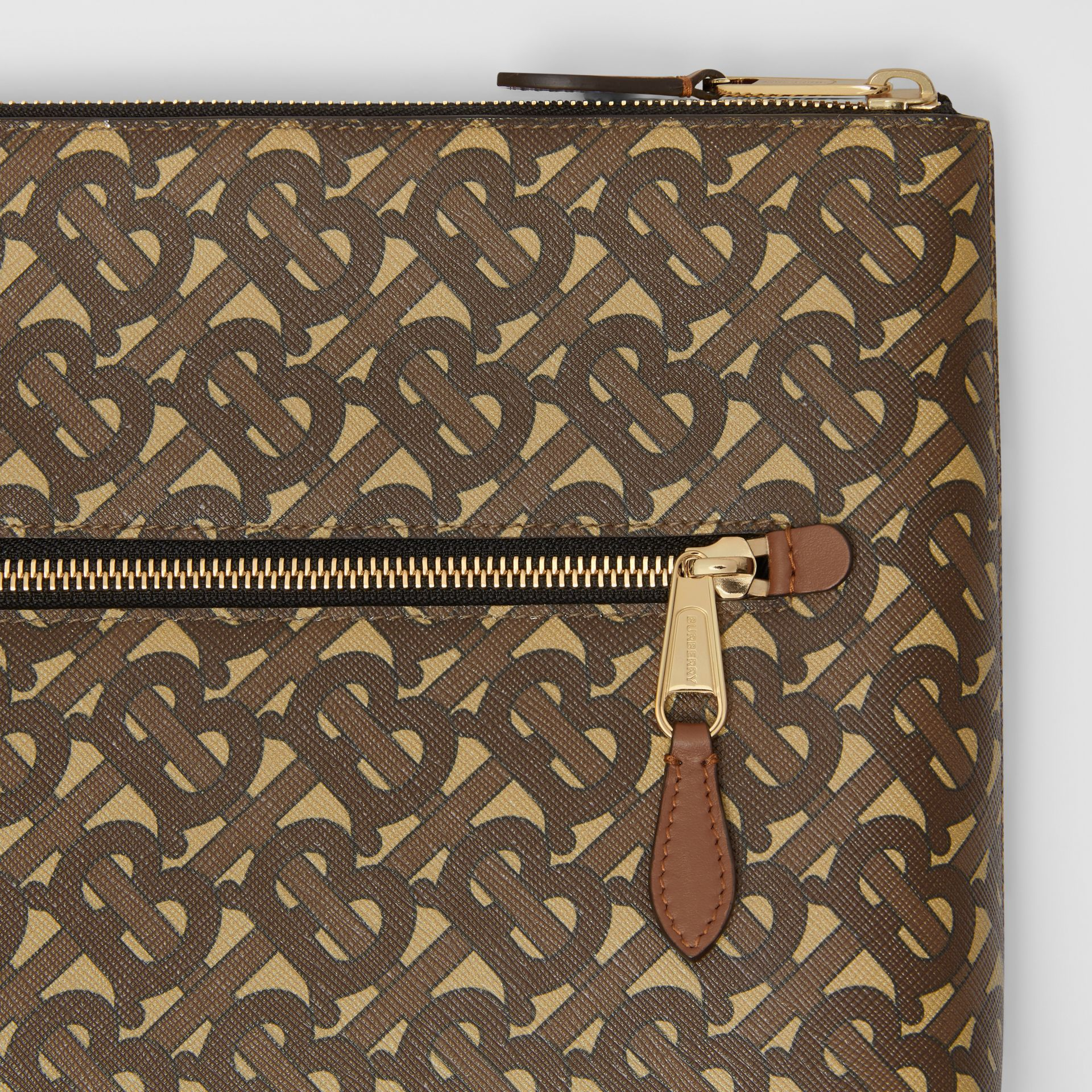 Monogram Print E-canvas Zip Pouch in Bridle Brown | Burberry United States - gallery image 1