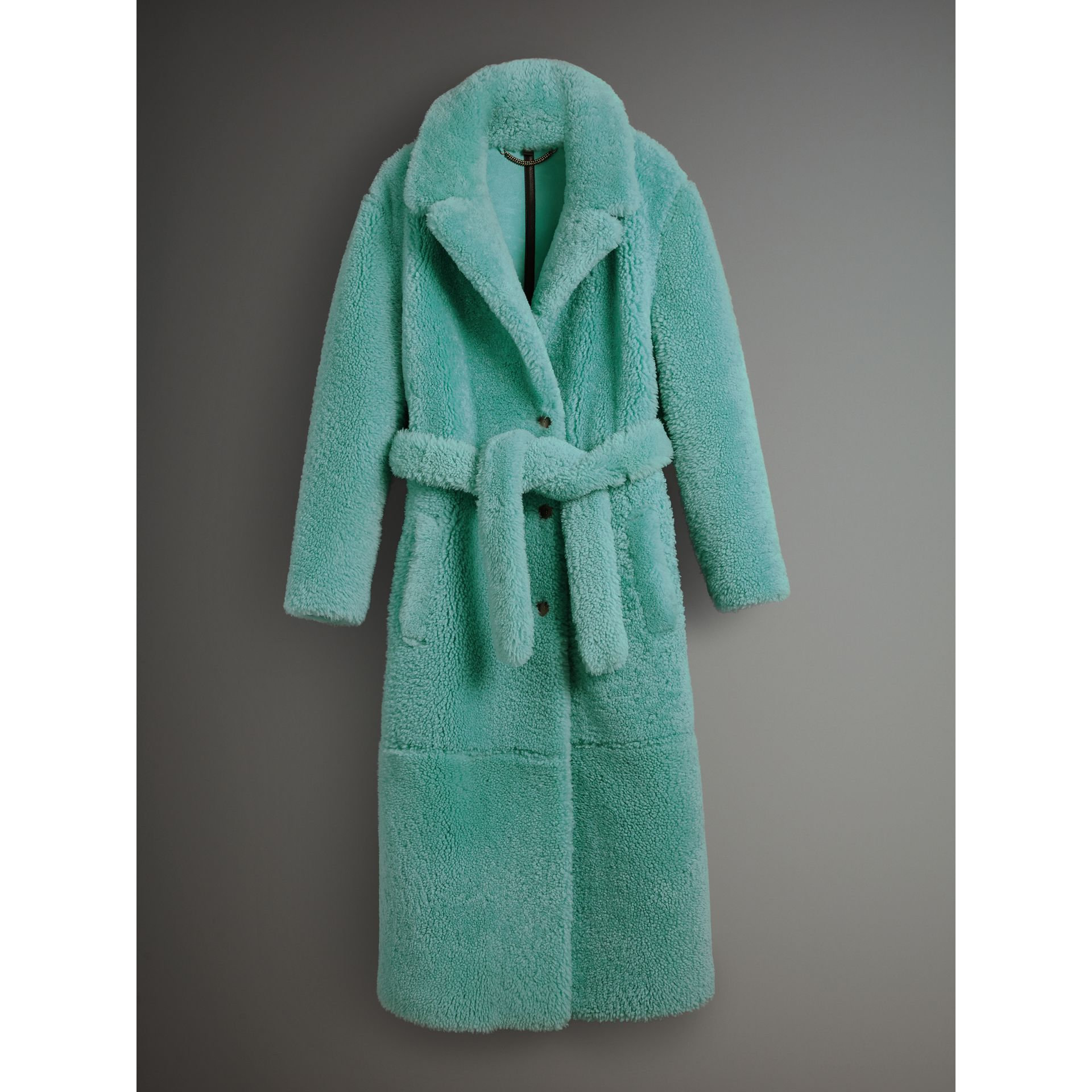 Shearling Oversized Coat in Turquoise - Women | Burberry - gallery image 3