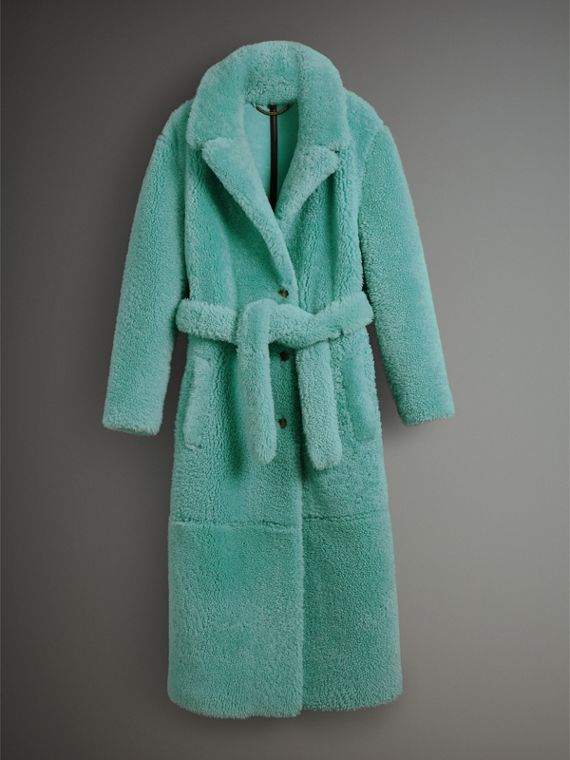 Shearling Oversized Coat in Turquoise - Women | Burberry - cell image 3