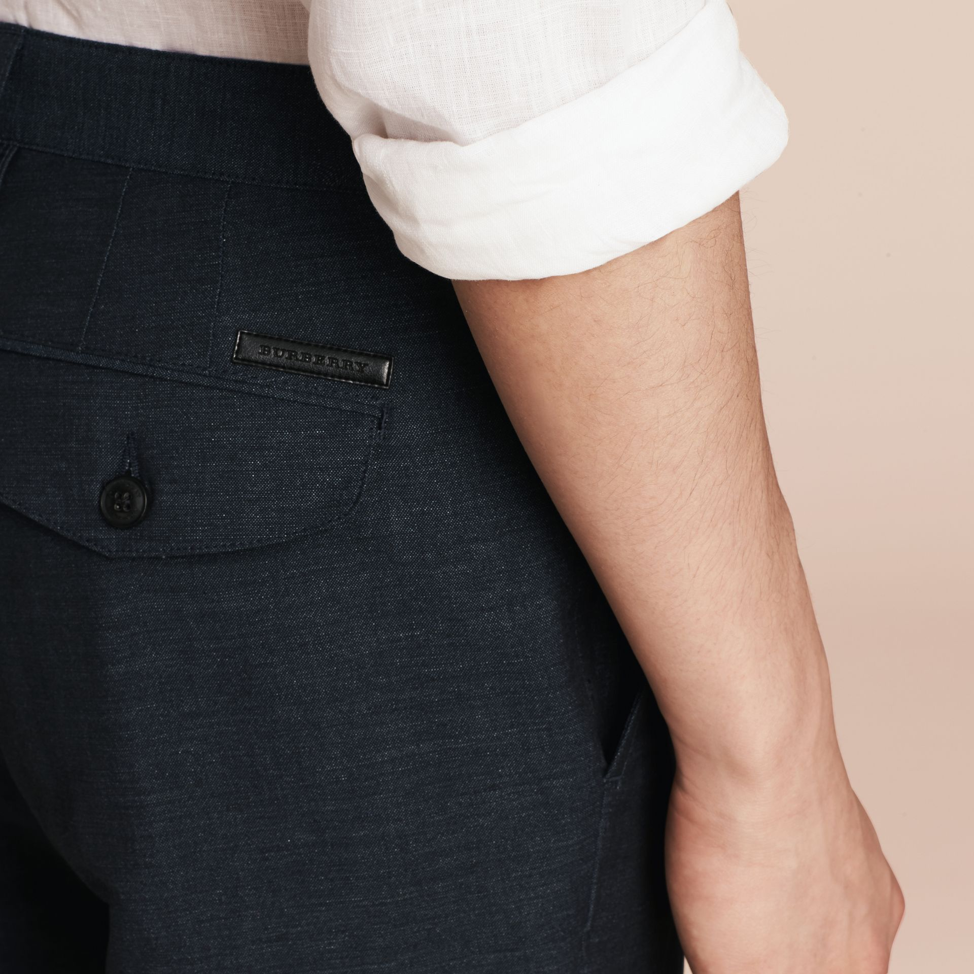 Navy Linen Cotton Tailored Shorts - gallery image 5