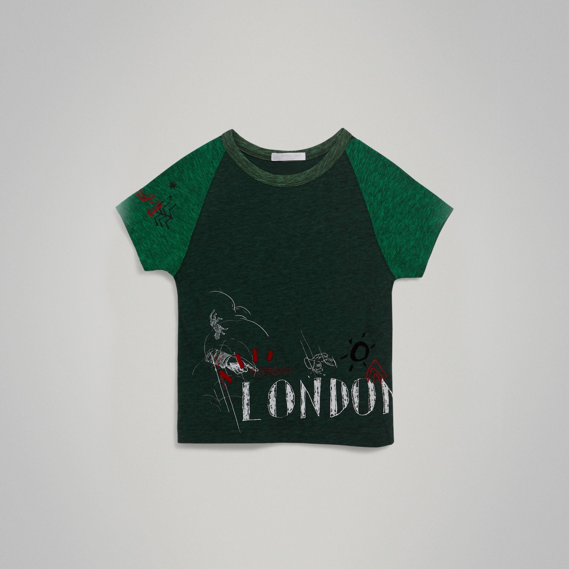 Raglan-sleeve Adventure Motif Cotton Blend T-shirt in Forest Green - Boy | Burberry - gallery image 0