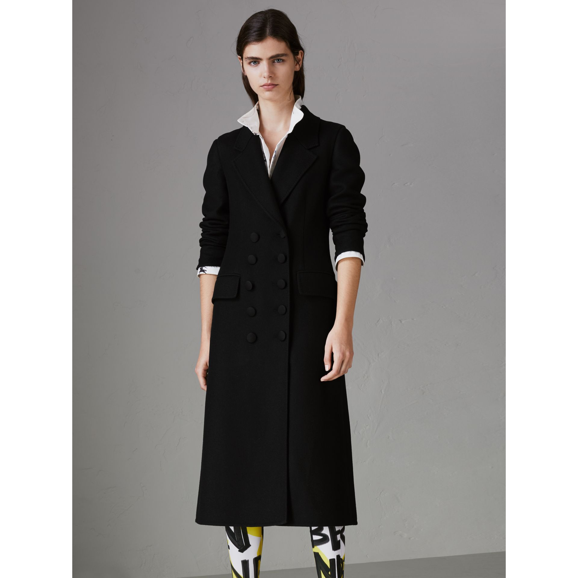 Double-breasted Cashmere Tailored Coat in Black - Women | Burberry - gallery image 5