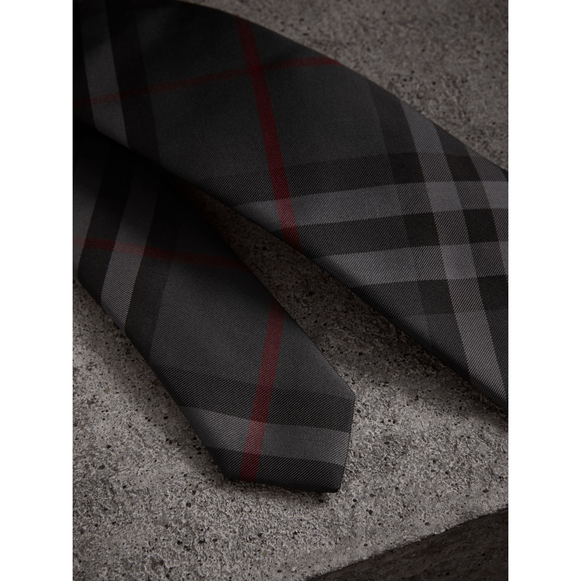 Modern Cut Check Silk Twill Tie in Charcoal - Men | Burberry United States - gallery image 1