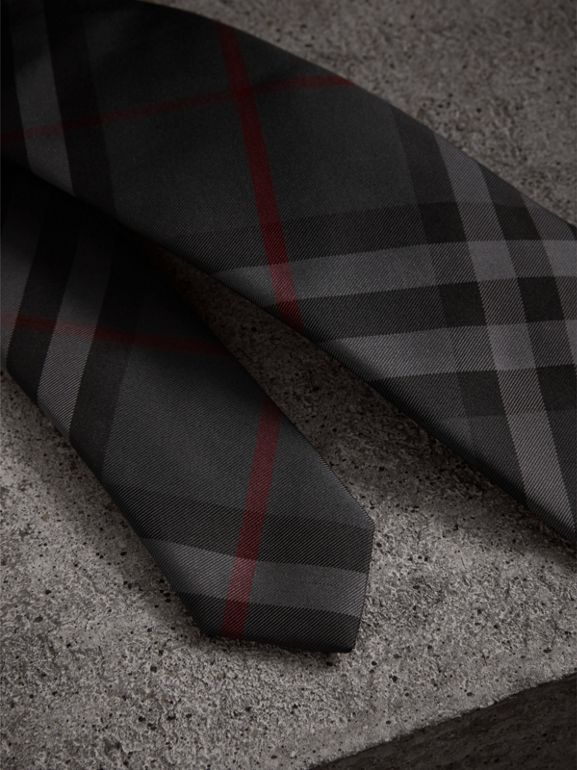 Modern Cut Check Silk Twill Tie in Charcoal - Men | Burberry Singapore - cell image 1