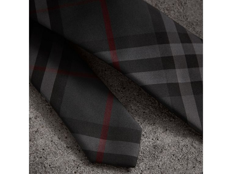 Modern Cut Check Silk Twill Tie in Charcoal - Men | Burberry United States - cell image 1