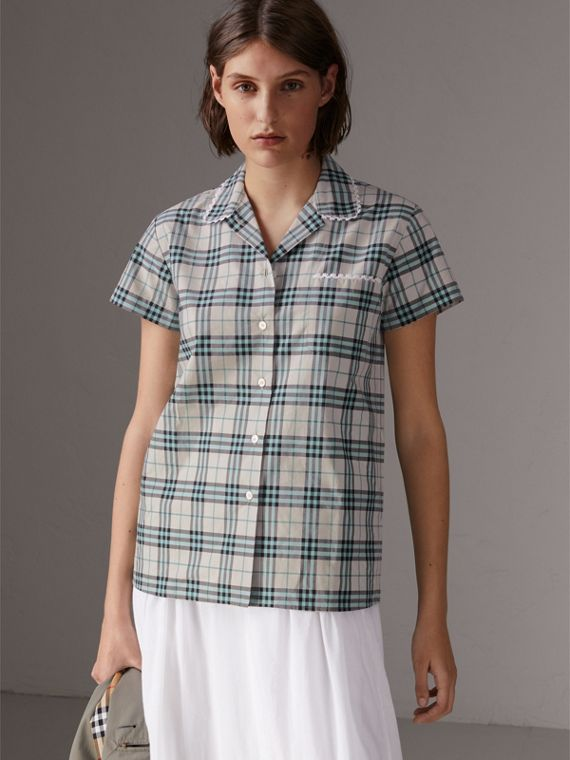 Short-sleeve Lace Trim Check Cotton Shirt in Pale Stone