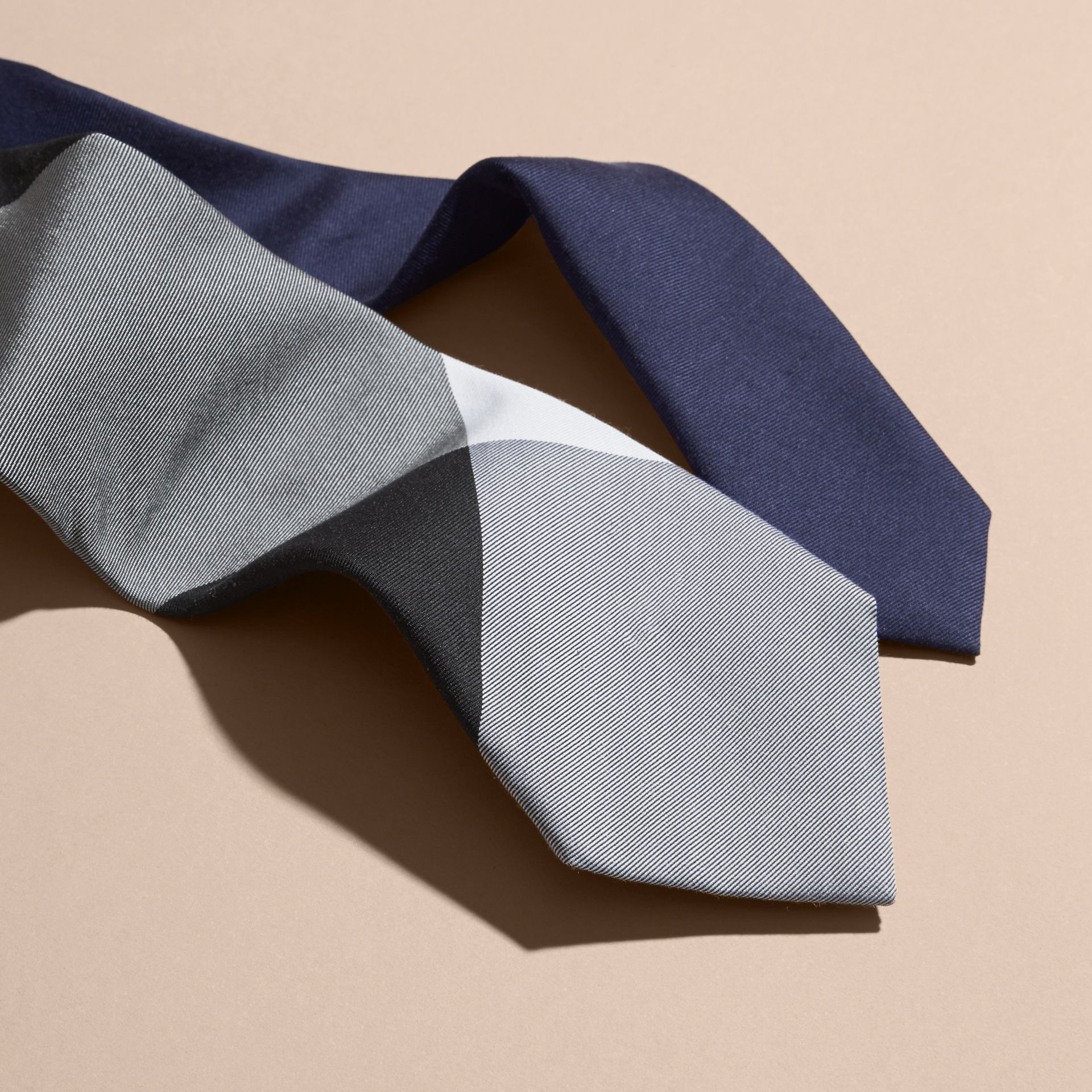 Slim Cut Check Silk Cotton Tie Navy - gallery image 2