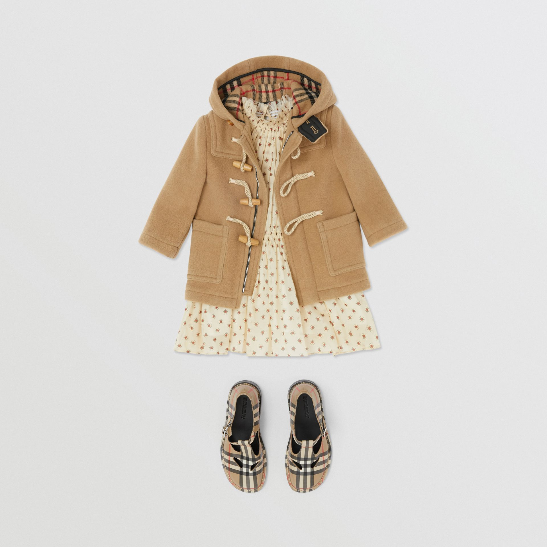 Boiled Wool Duffle Coat in Archive Beige - Children | Burberry - gallery image 2
