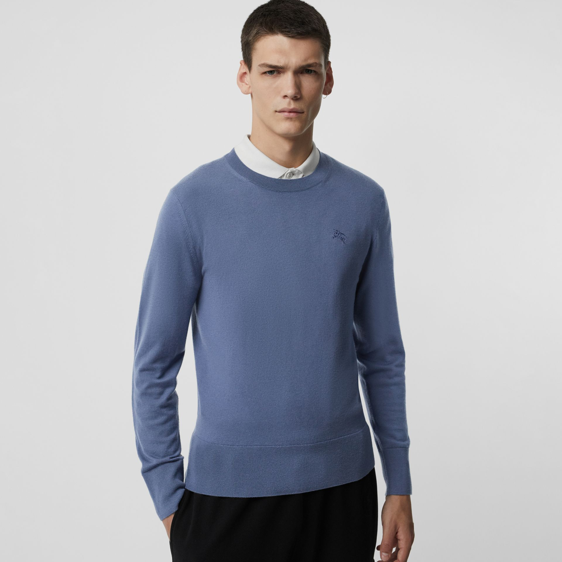 Crew Neck Cashmere Sweater in Airforce Blue - Men | Burberry - gallery image 0