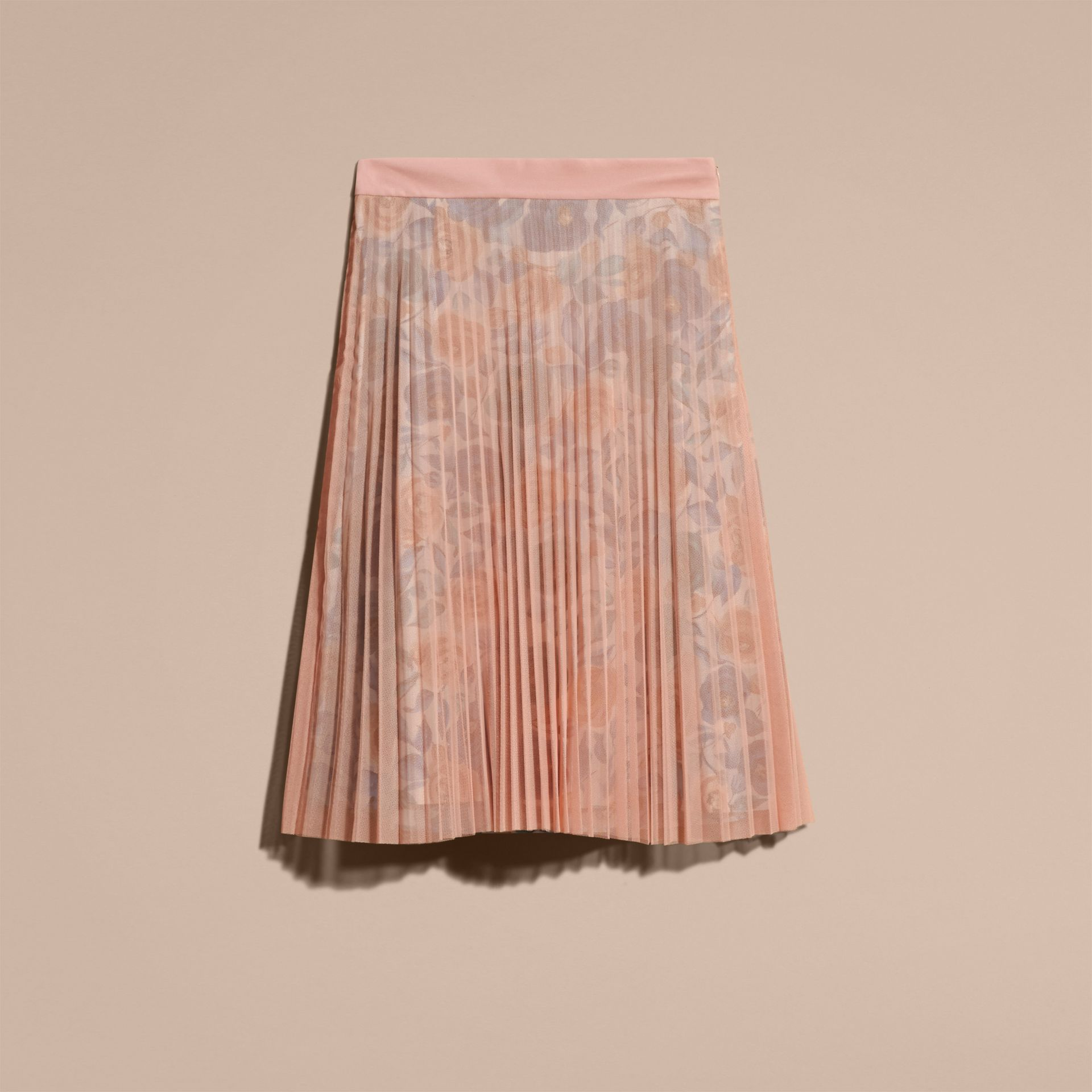 Pale rose Watercolour Rose Print and Pleated Tulle Skirt Pale - gallery image 4