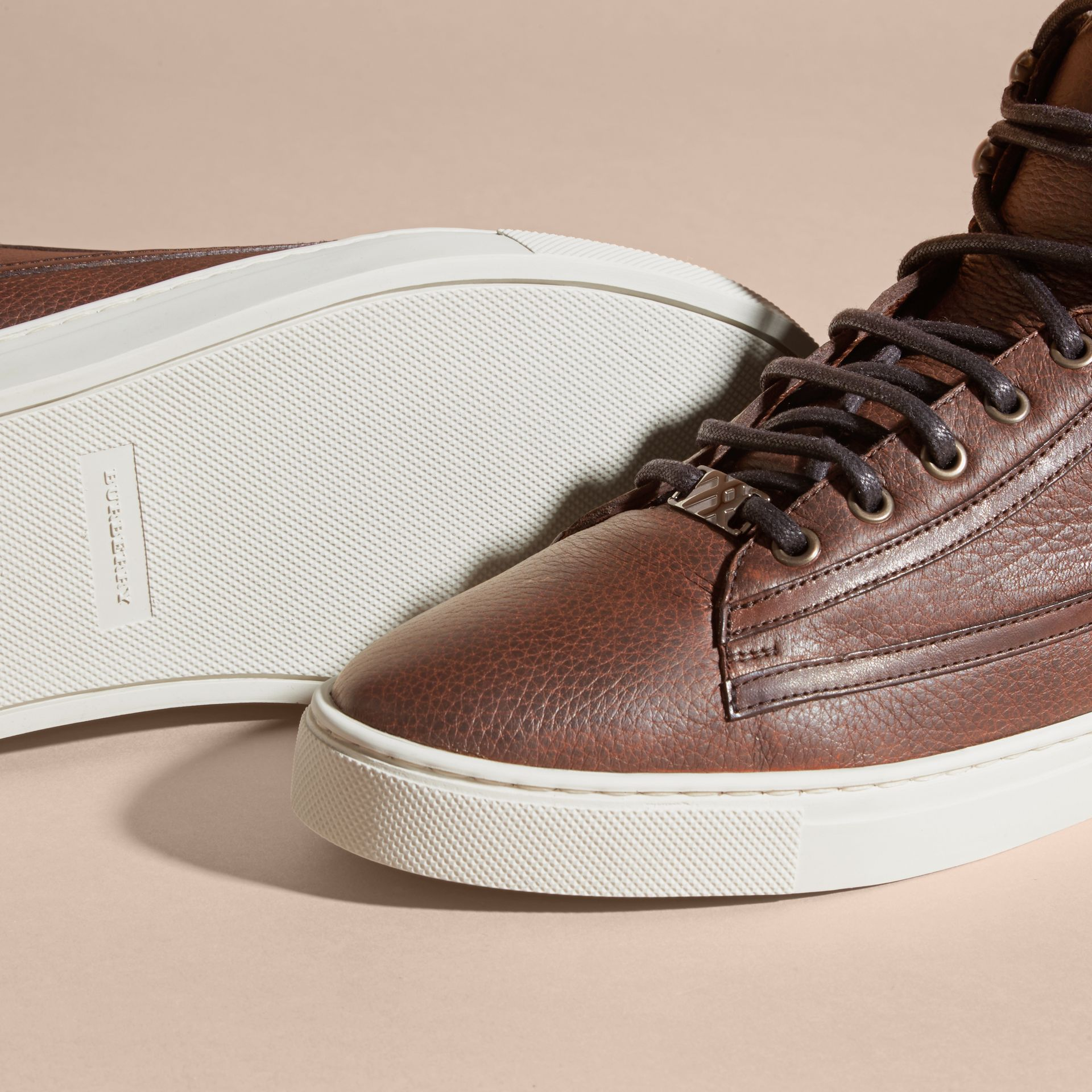 Bitter chocolate Shearling Lined Leather High-top Trainers - gallery image 5