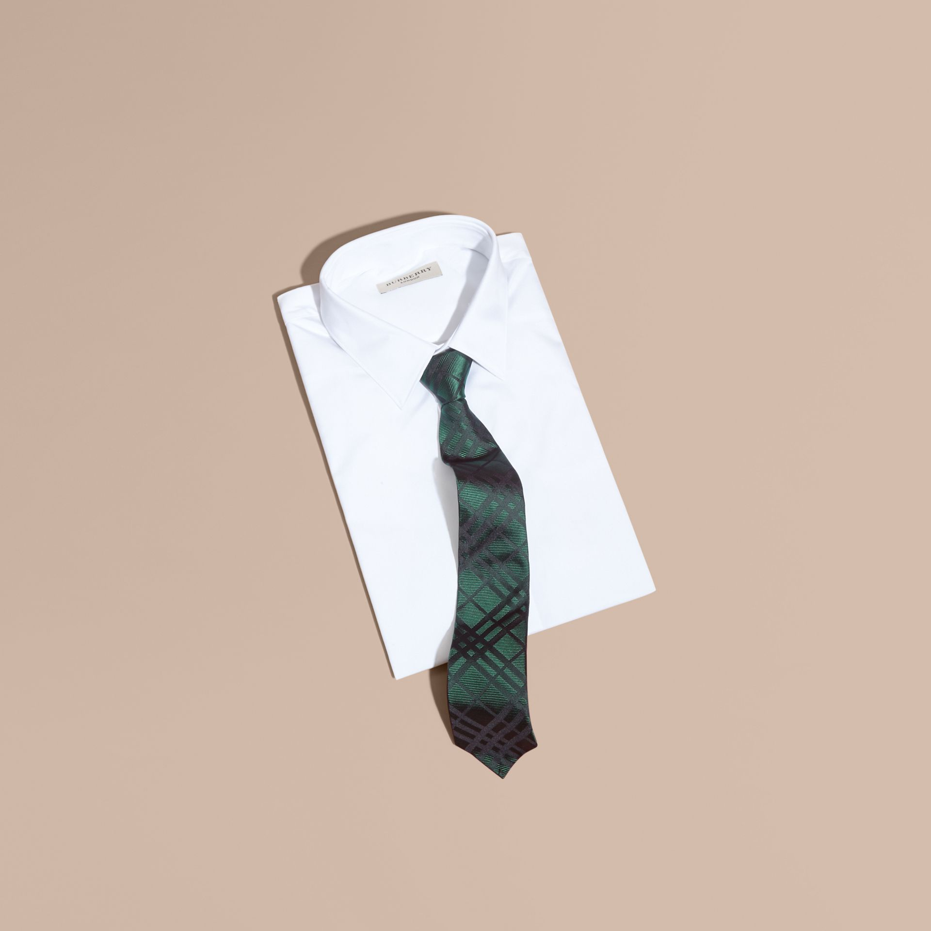 Modern Cut Check Jacquard Silk Tie Dark Forest Green - gallery image 3