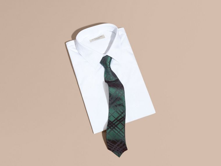Modern Cut Check Jacquard Silk TIe Dark Forest Green - cell image 2