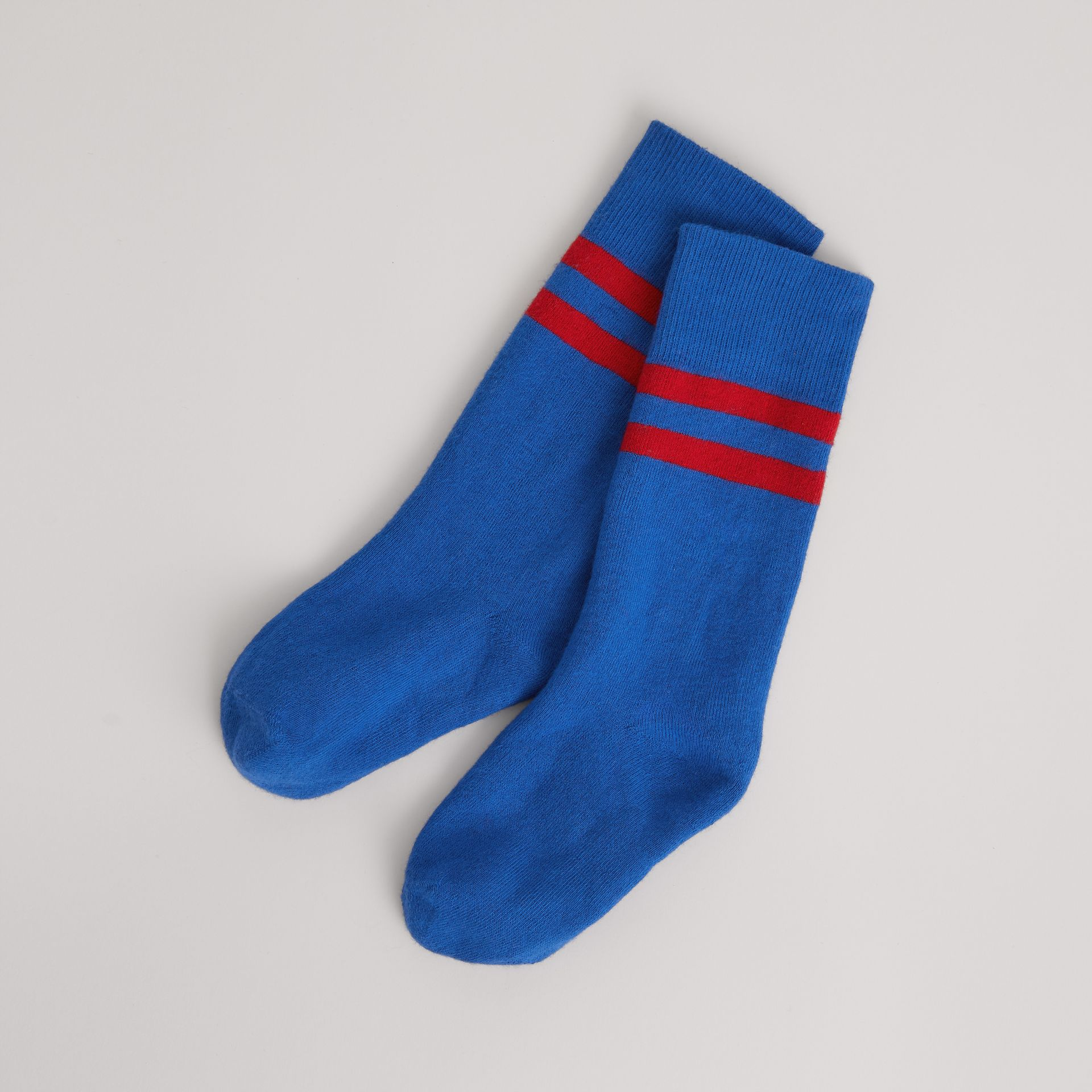 Tipped Cotton Blend Socks in Bright Blue | Burberry United States - gallery image 0