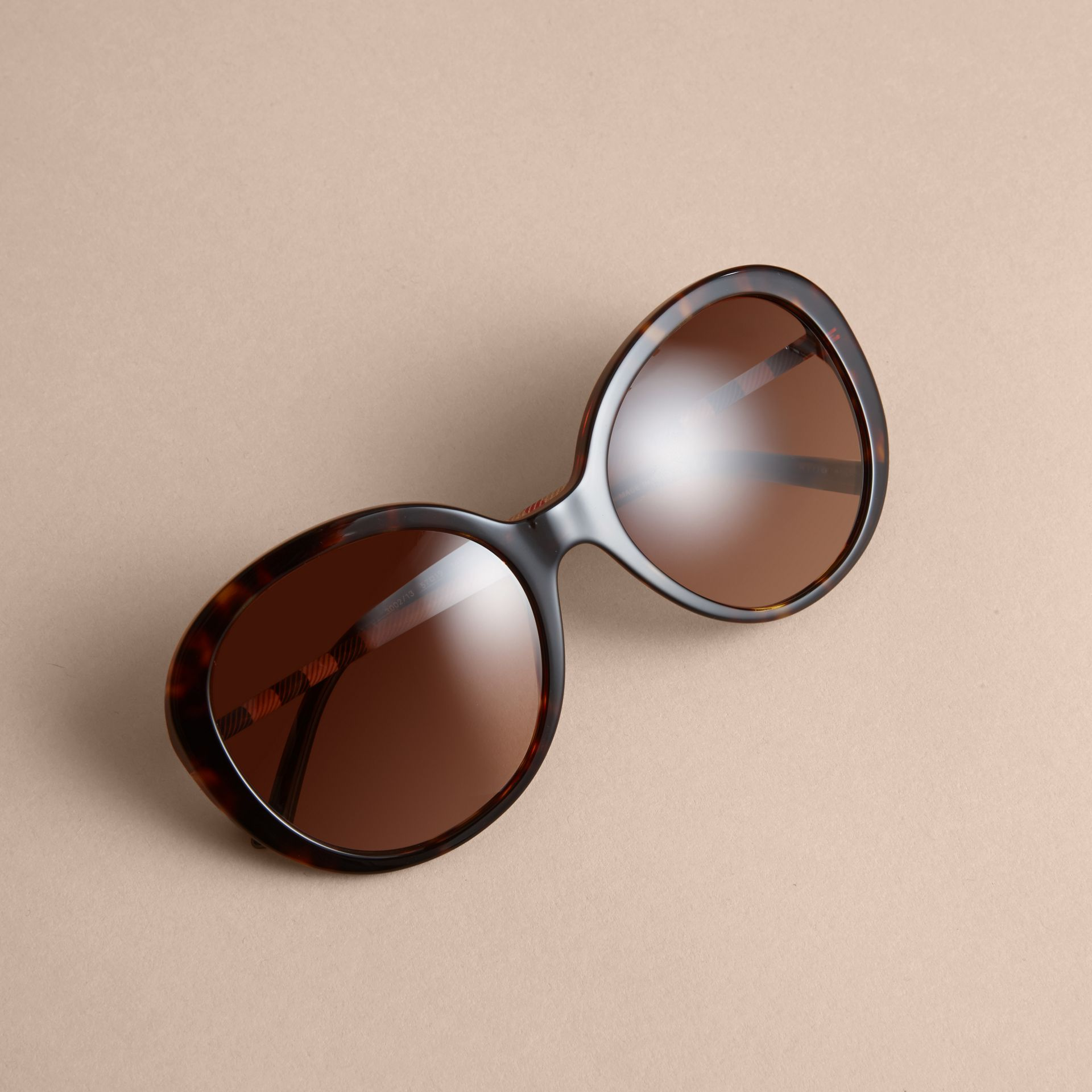 Check Detail Round Frame Sunglasses in Tortoise Shell - Women | Burberry - gallery image 3