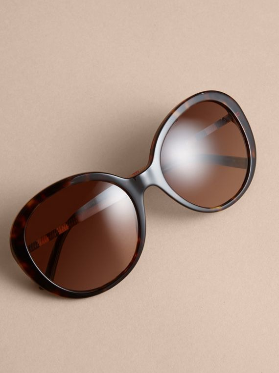 Check Detail Round Frame Sunglasses in Tortoise Shell - Women | Burberry - cell image 2
