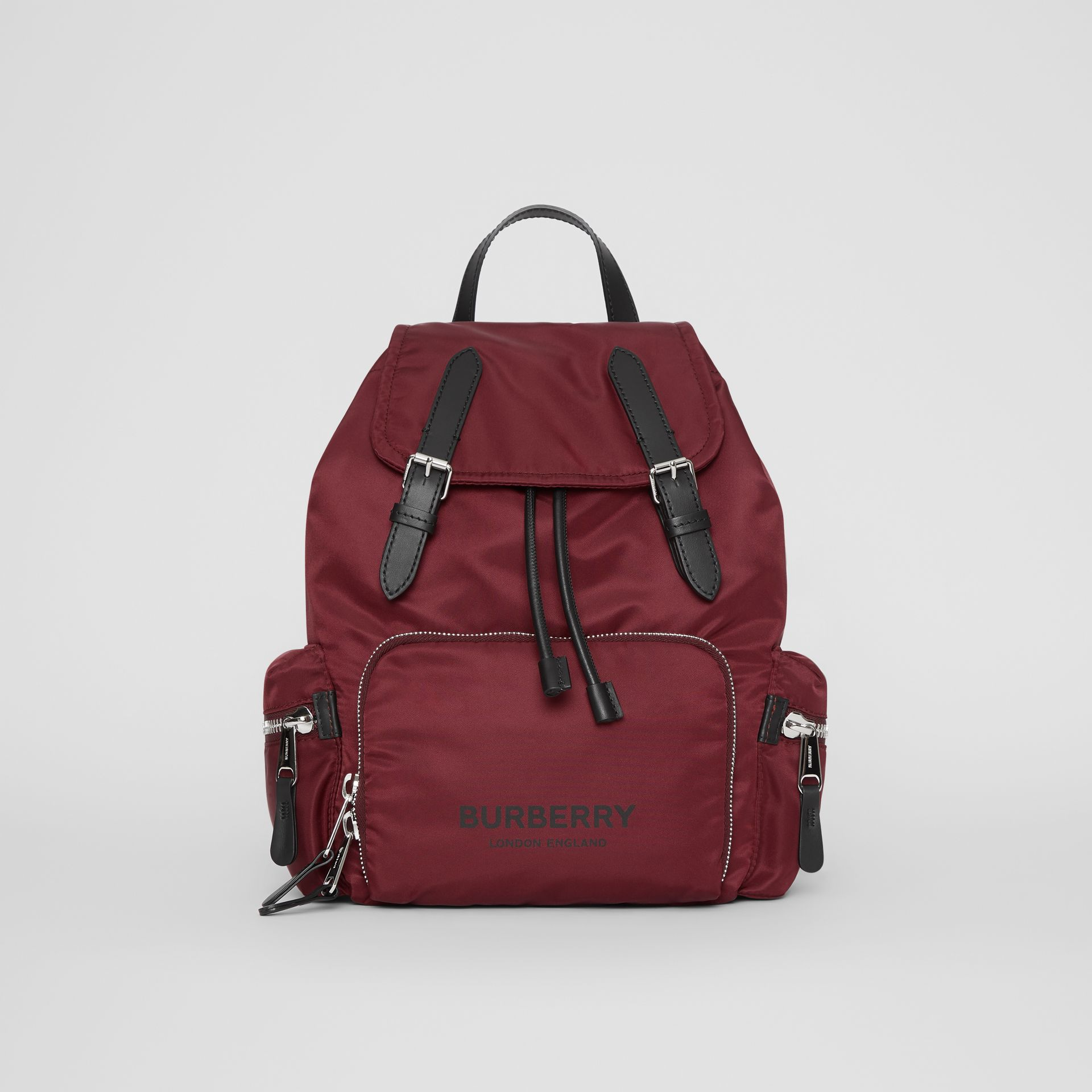 The Medium Rucksack in Logo Print Nylon in Burgundy - Women | Burberry Canada - gallery image 0