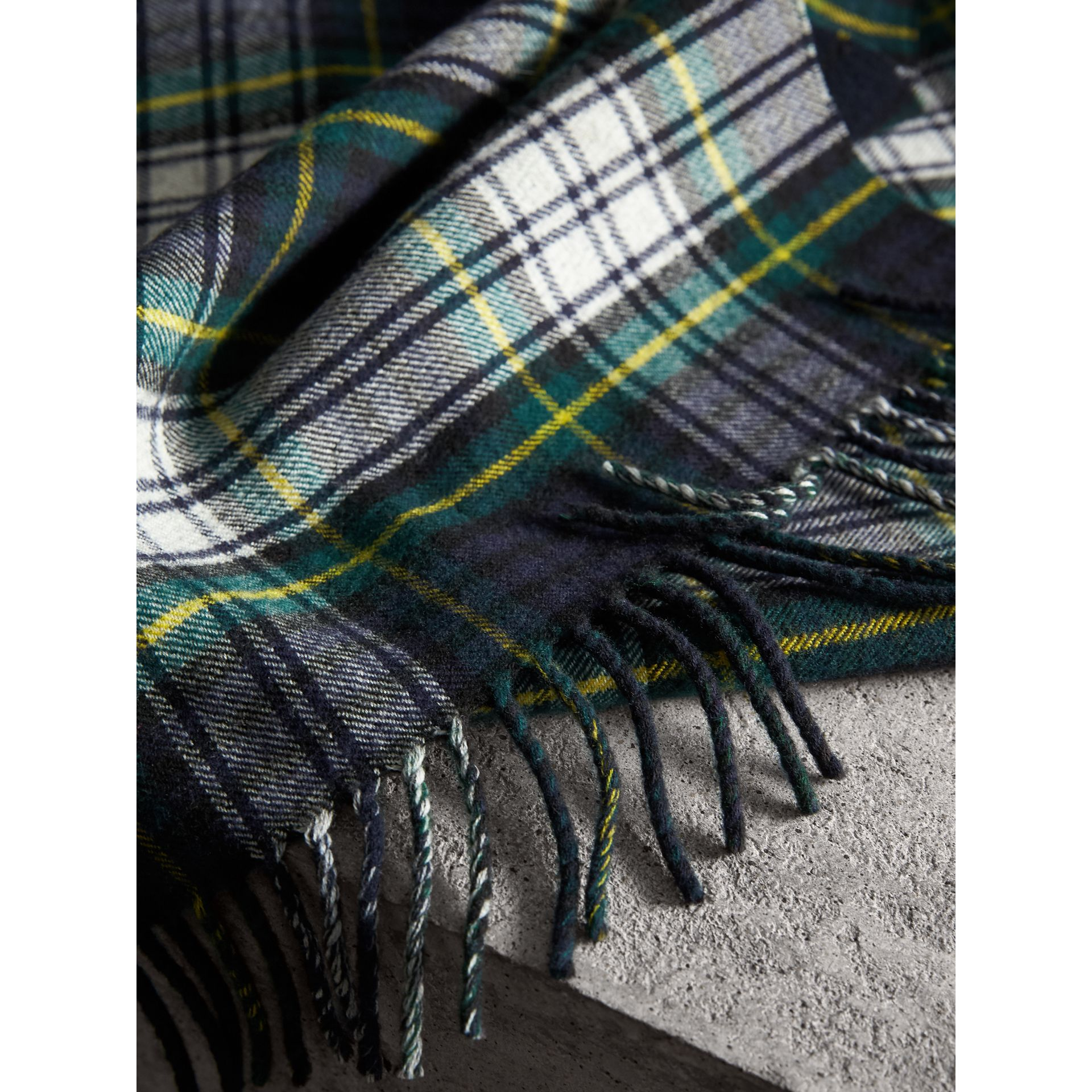 Check Merino Wool Scarf in Ink Blue | Burberry Australia - gallery image 1