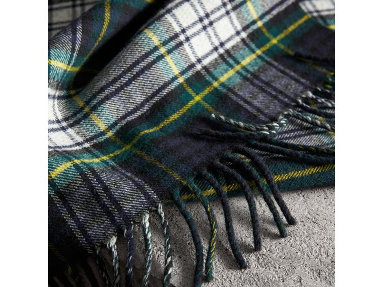 Check Merino Wool Scarf in Ink Blue | Burberry - cell image 1