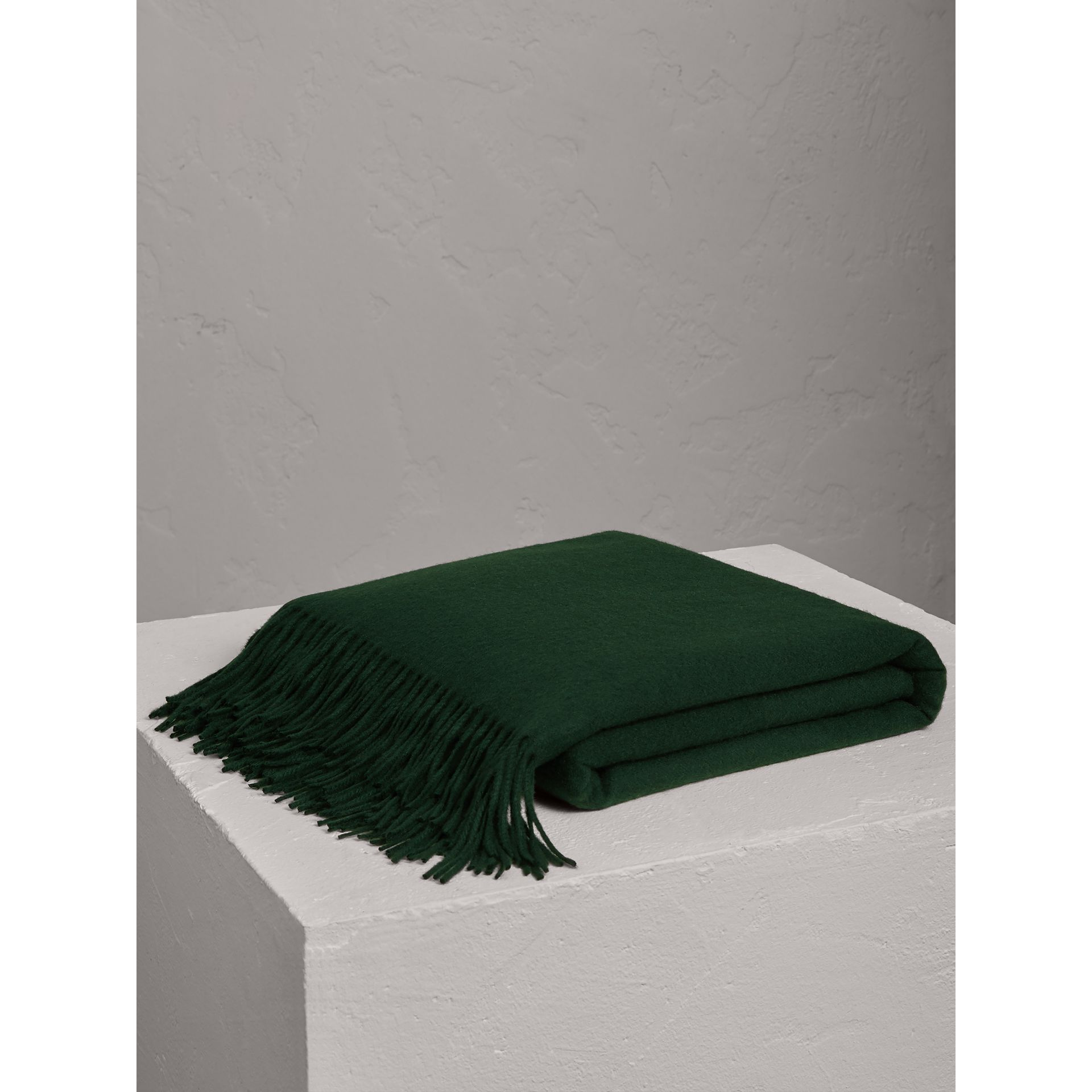Cashmere Blanket in Dark Forest Green | Burberry - gallery image 0