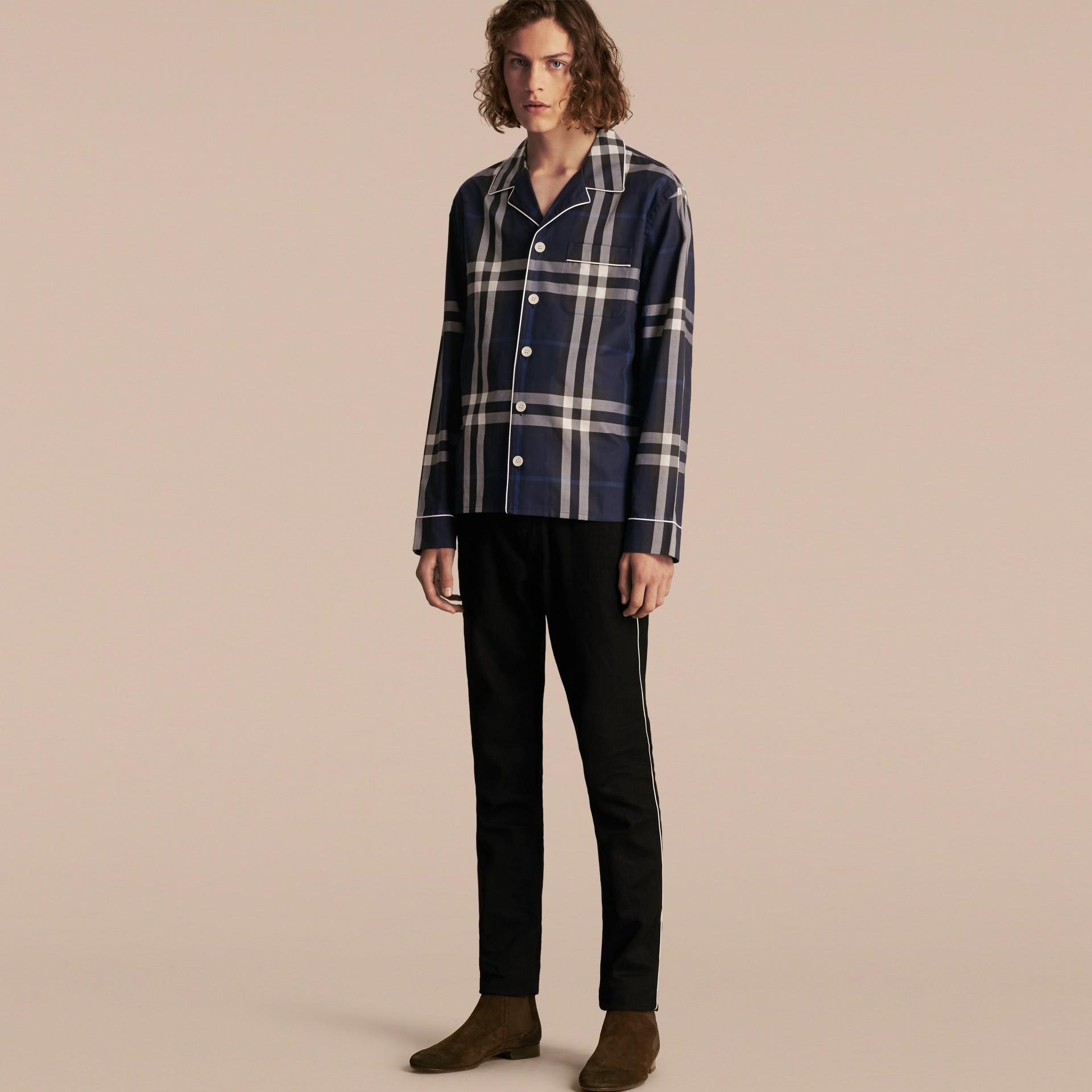 Indigo blue Check Cotton Pyjama-style Shirt Indigo Blue - gallery image 1