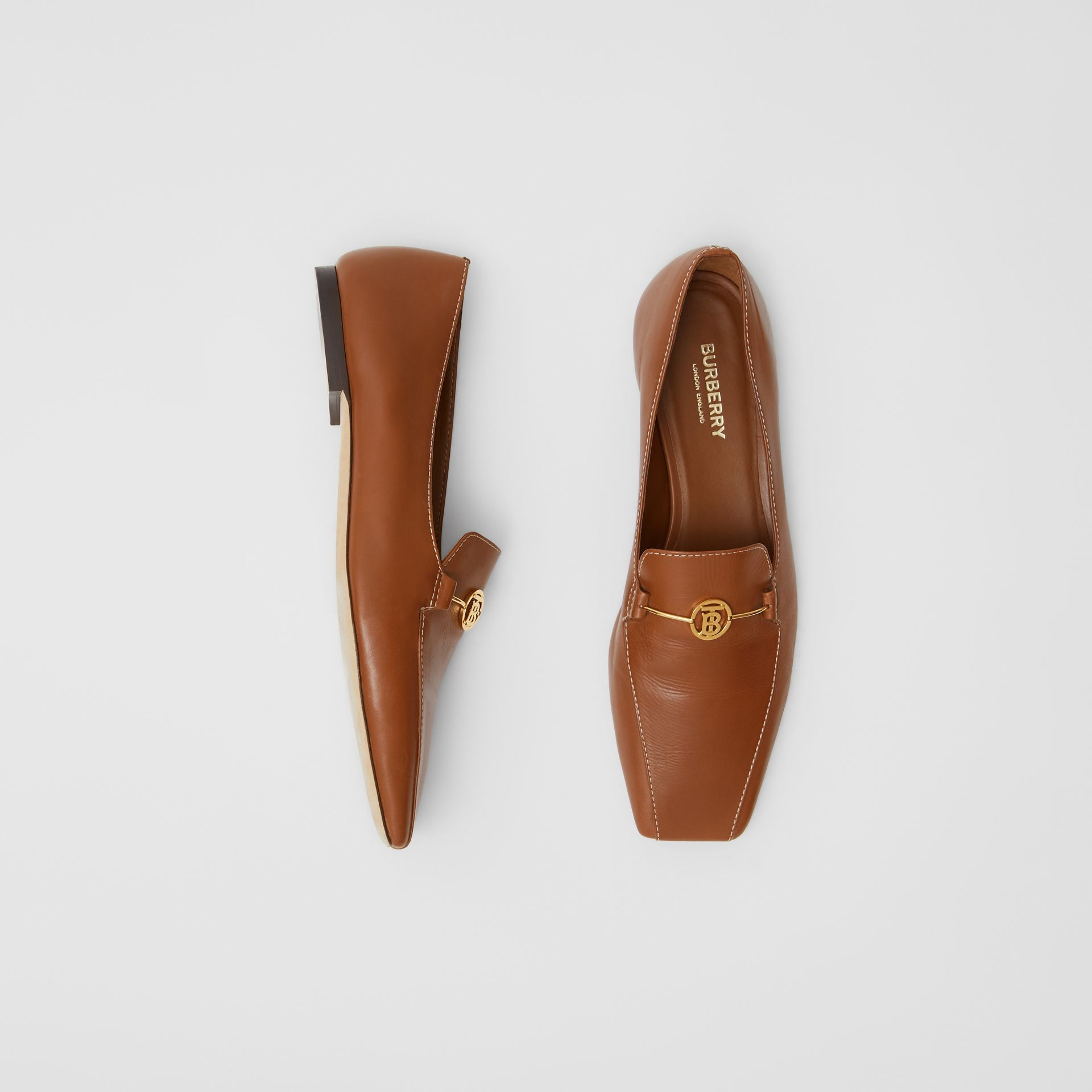 Monogram Motif Leather Loafers in Tan - Women | Burberry United Kingdom - gallery image 0