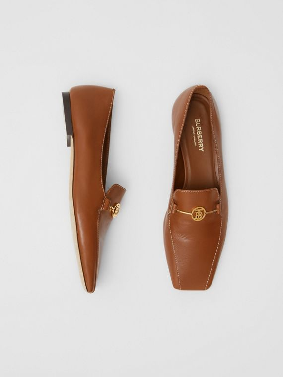 Monogram Motif Leather Loafers in Tan