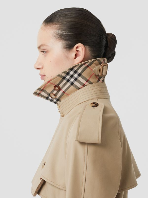 Deconstructed Cotton and Shearling Trench Coat in Honey - Women | Burberry Singapore - cell image 3