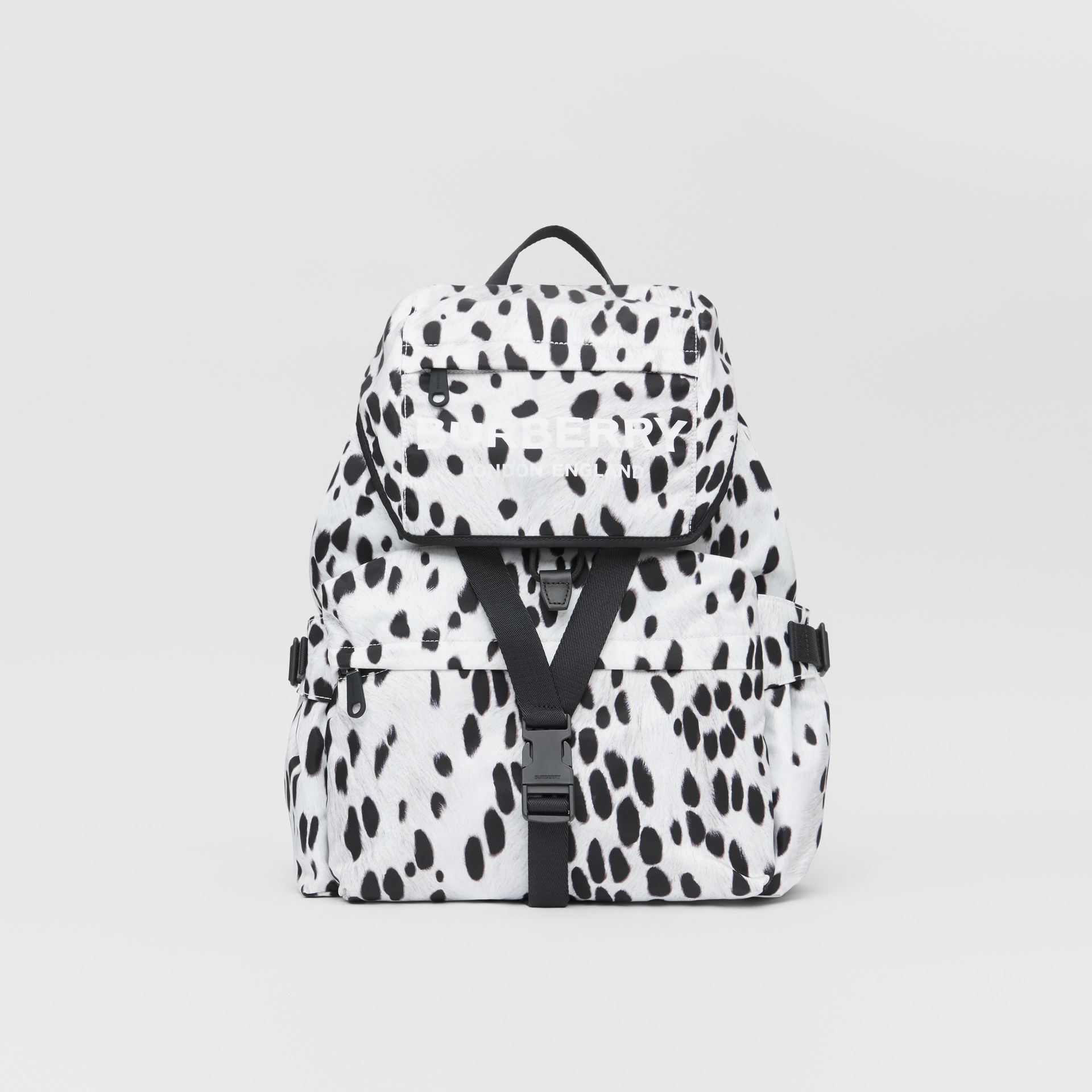 Logo and Dalmatian Print Nylon Backpack in Black - Women | Burberry United Kingdom - gallery image 0