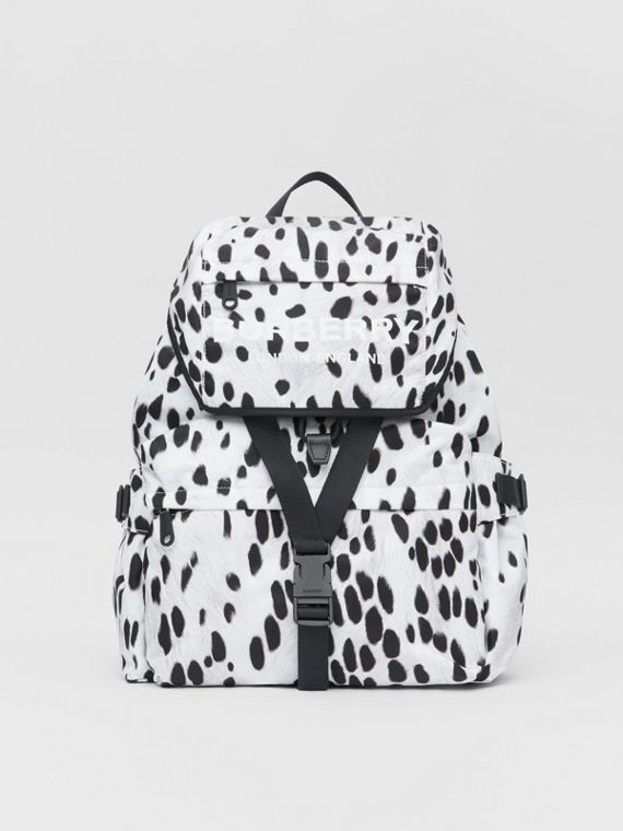 Logo and Dalmatian Print Nylon Backpack in Black