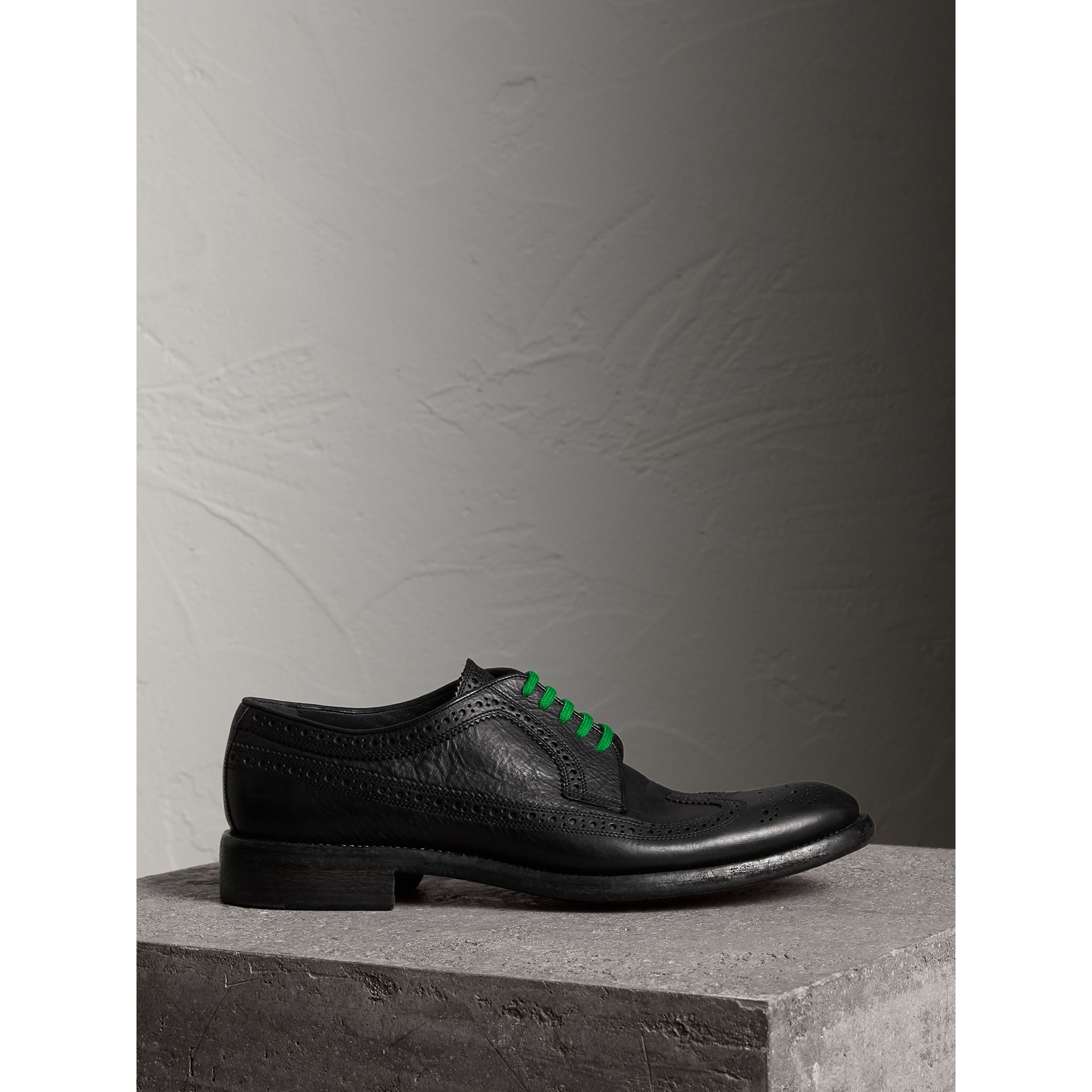 Grainy Leather Brogues with Bright Laces in Black - Men | Burberry - gallery image 4
