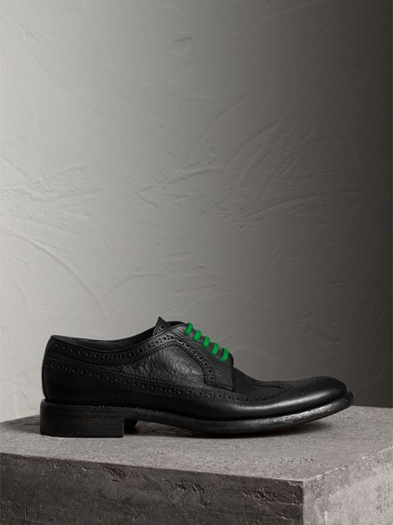 Grainy Leather Brogues with Bright Laces in Black - Men | Burberry Singapore - cell image 3