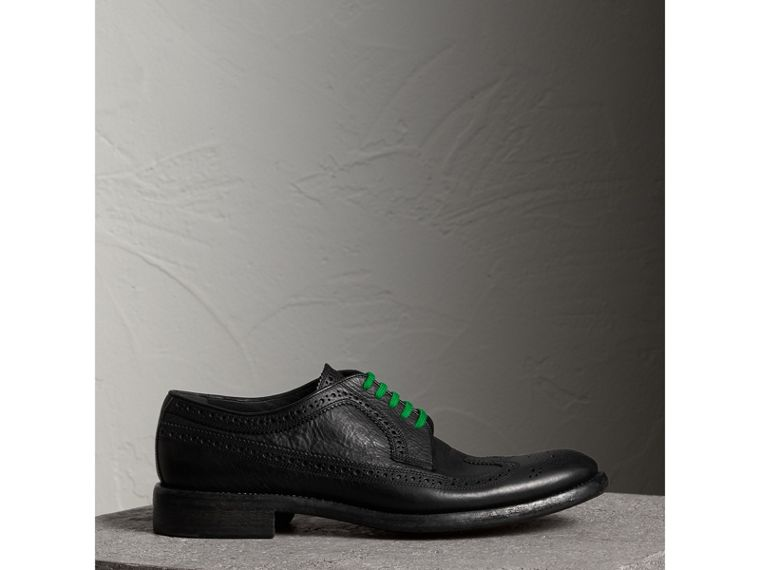 Grainy Leather Brogues with Bright Laces in Black - Men | Burberry - cell image 4