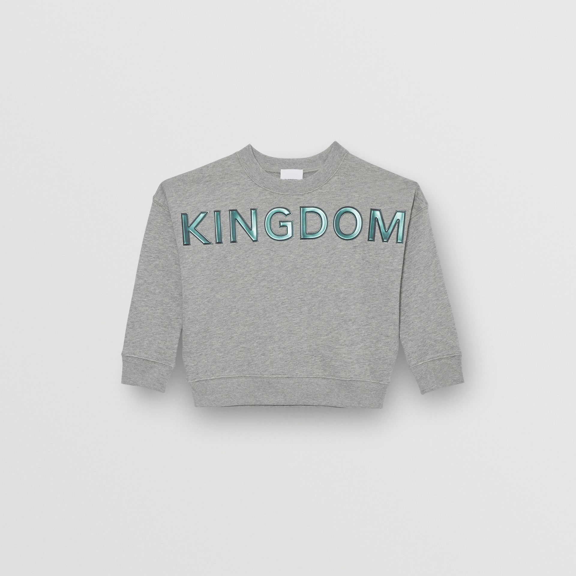 Kingdom Motif Cotton Sweatshirt in Grey Melange | Burberry - gallery image 0
