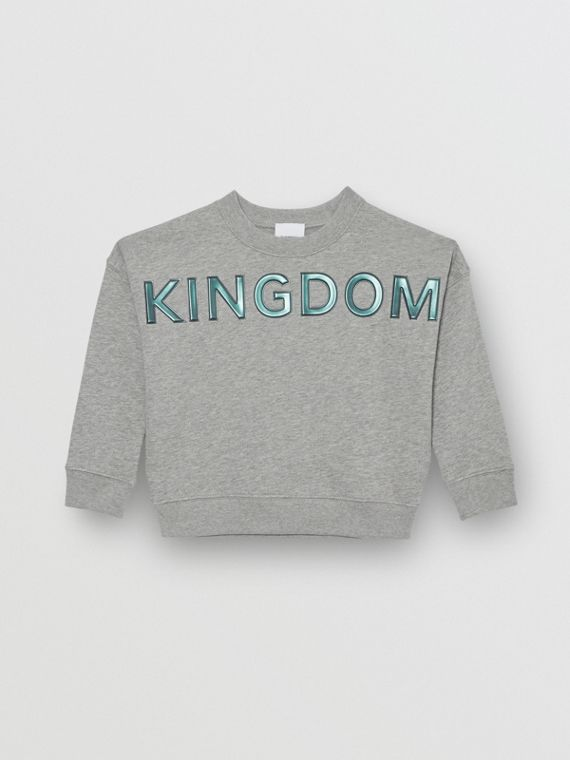Kingdom Motif Cotton Sweatshirt in Grey Melange