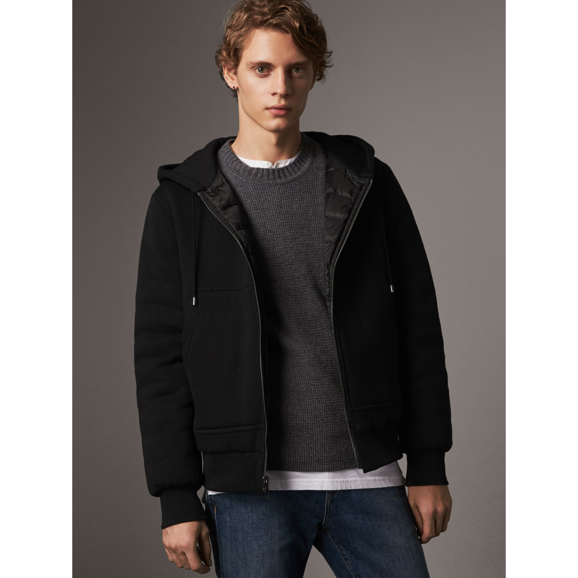 Reversible Down-filled Hooded Bomber Jacket in Black - Men | Burberry - gallery image 7
