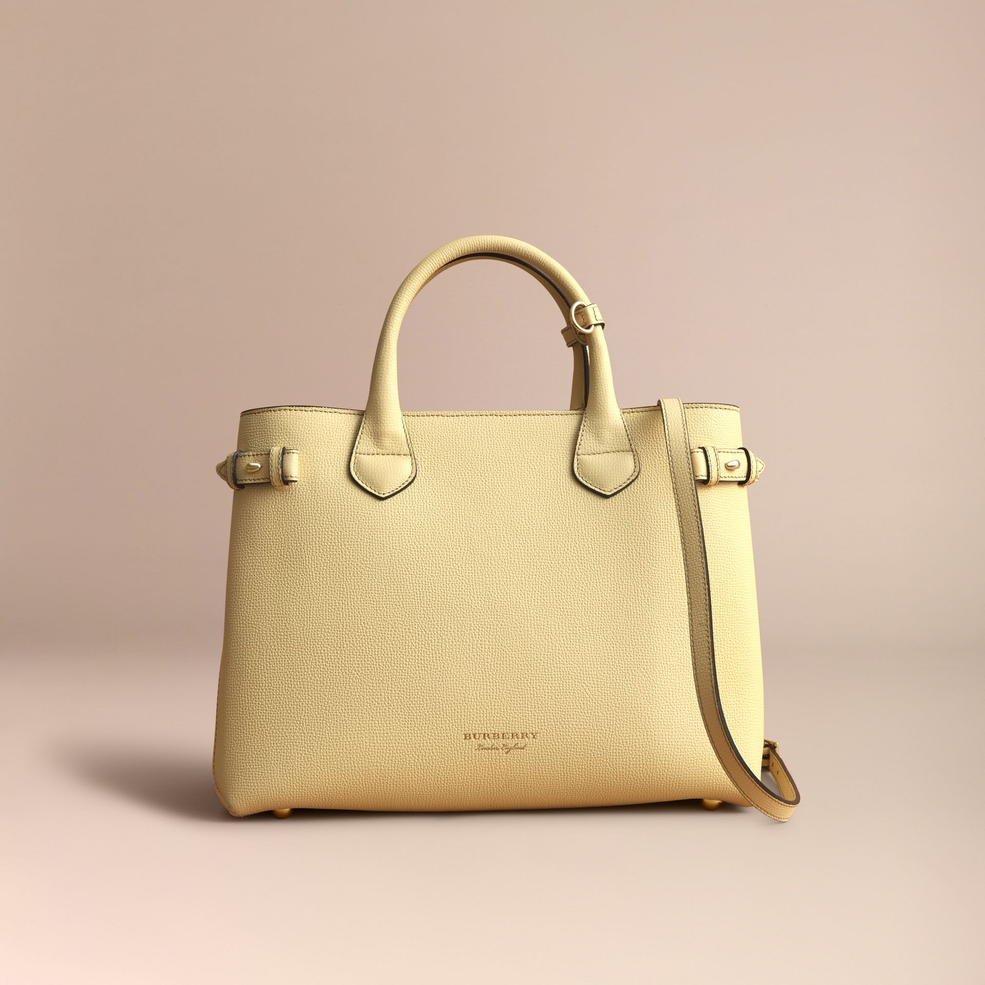 The Medium Banner in Leather and House Check in Camomile Yellow - Women | Burberry - gallery image 8