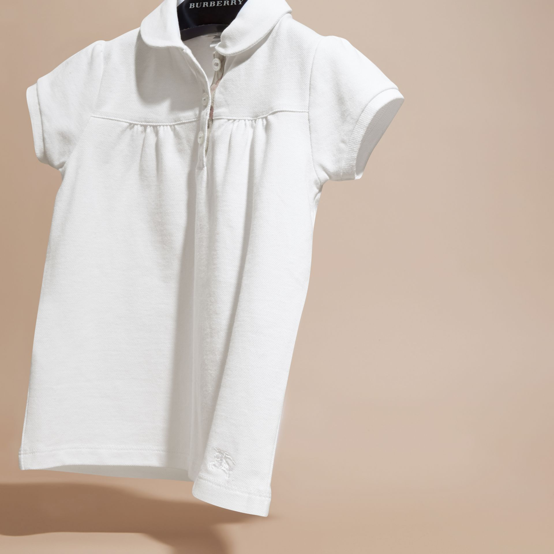 White Ruched Detail Stretch Cotton Polo Shirt White - gallery image 3