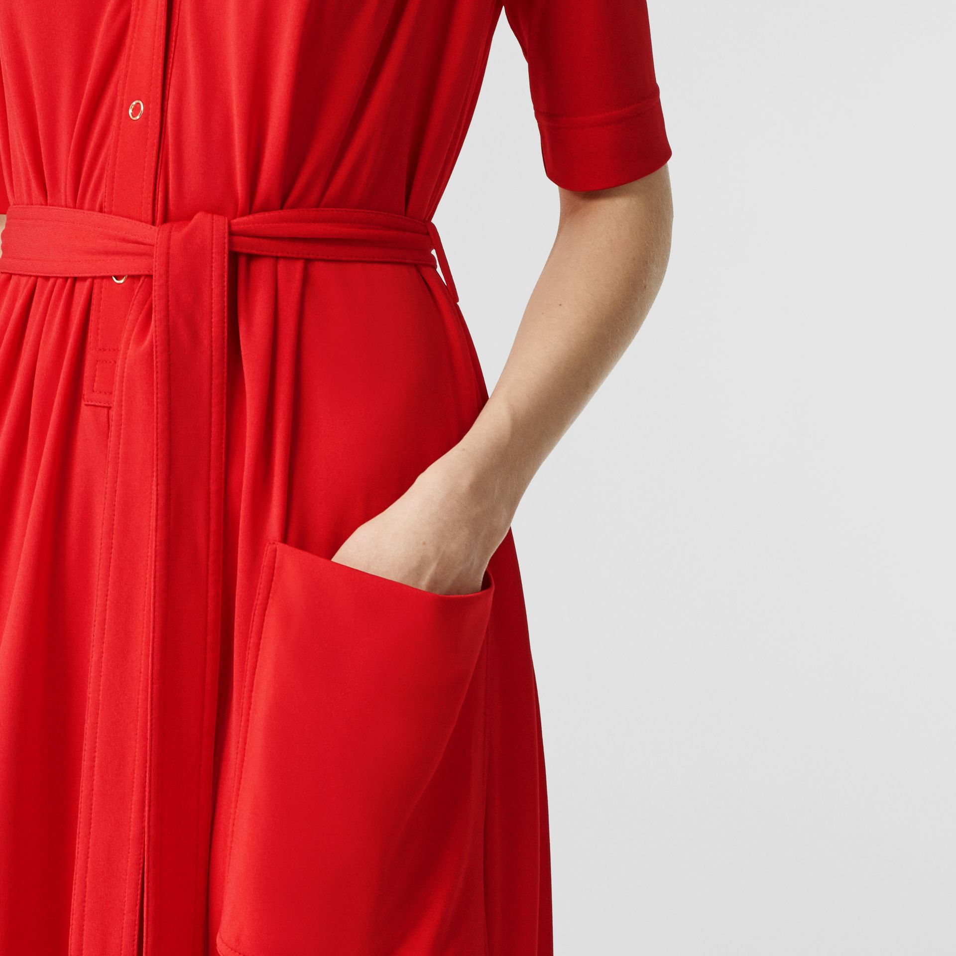 Short-sleeve Gathered Jersey Dress in Bright Red - Women | Burberry - gallery image 4
