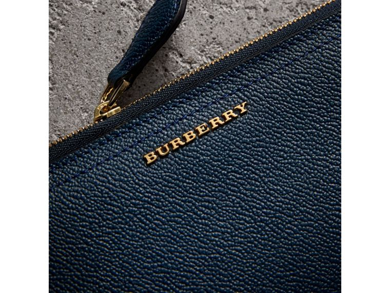 Grainy Leather Ziparound Wallet in Blue Carbon - Women | Burberry - cell image 1