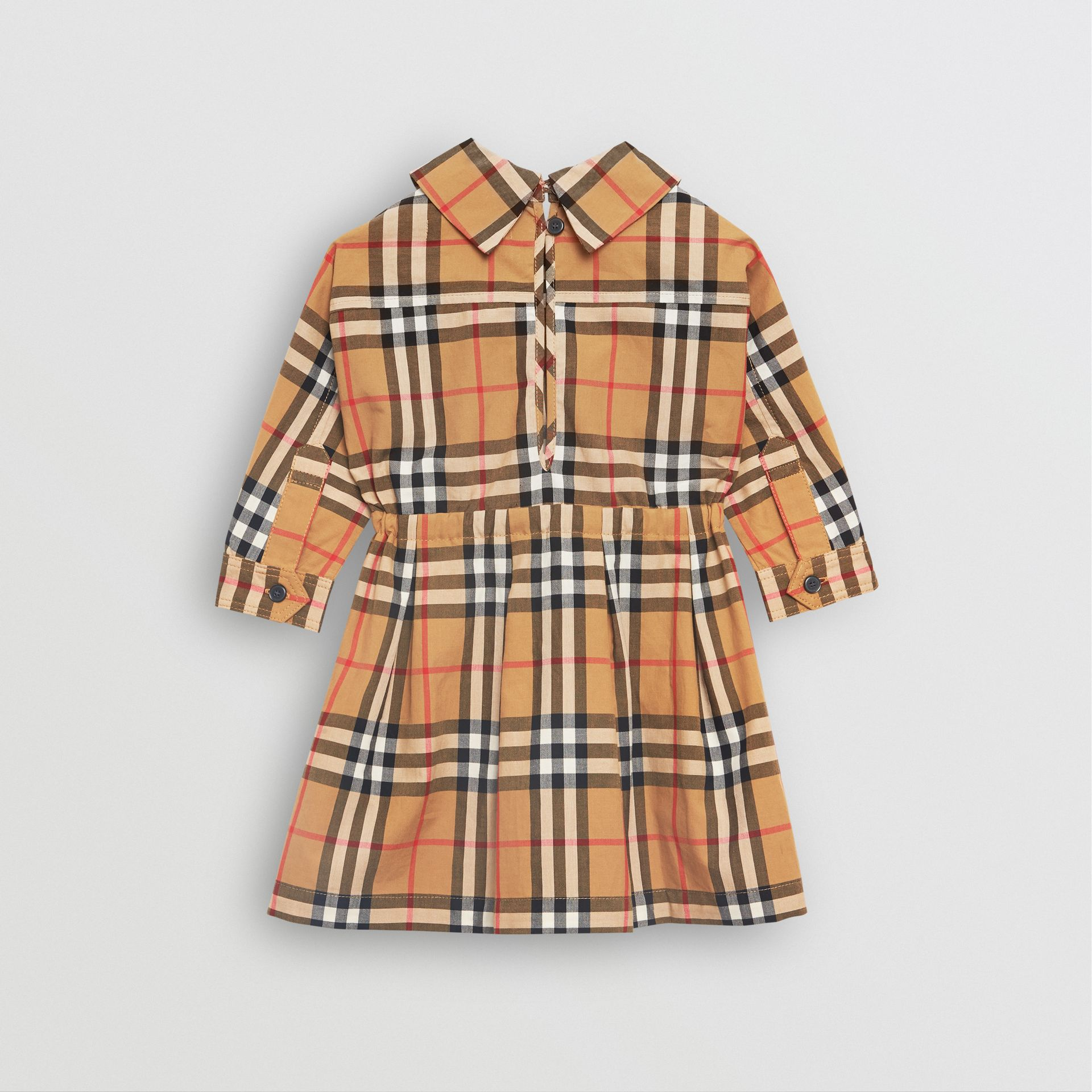 Robe à cordon de serrage en coton à motif Vintage check (Jaune Antique) - Enfant | Burberry Canada - photo de la galerie 3