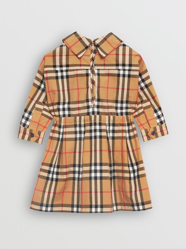 Vintage Check Cotton Drawcord Dress in Antique Yellow - Children | Burberry Hong Kong - cell image 3