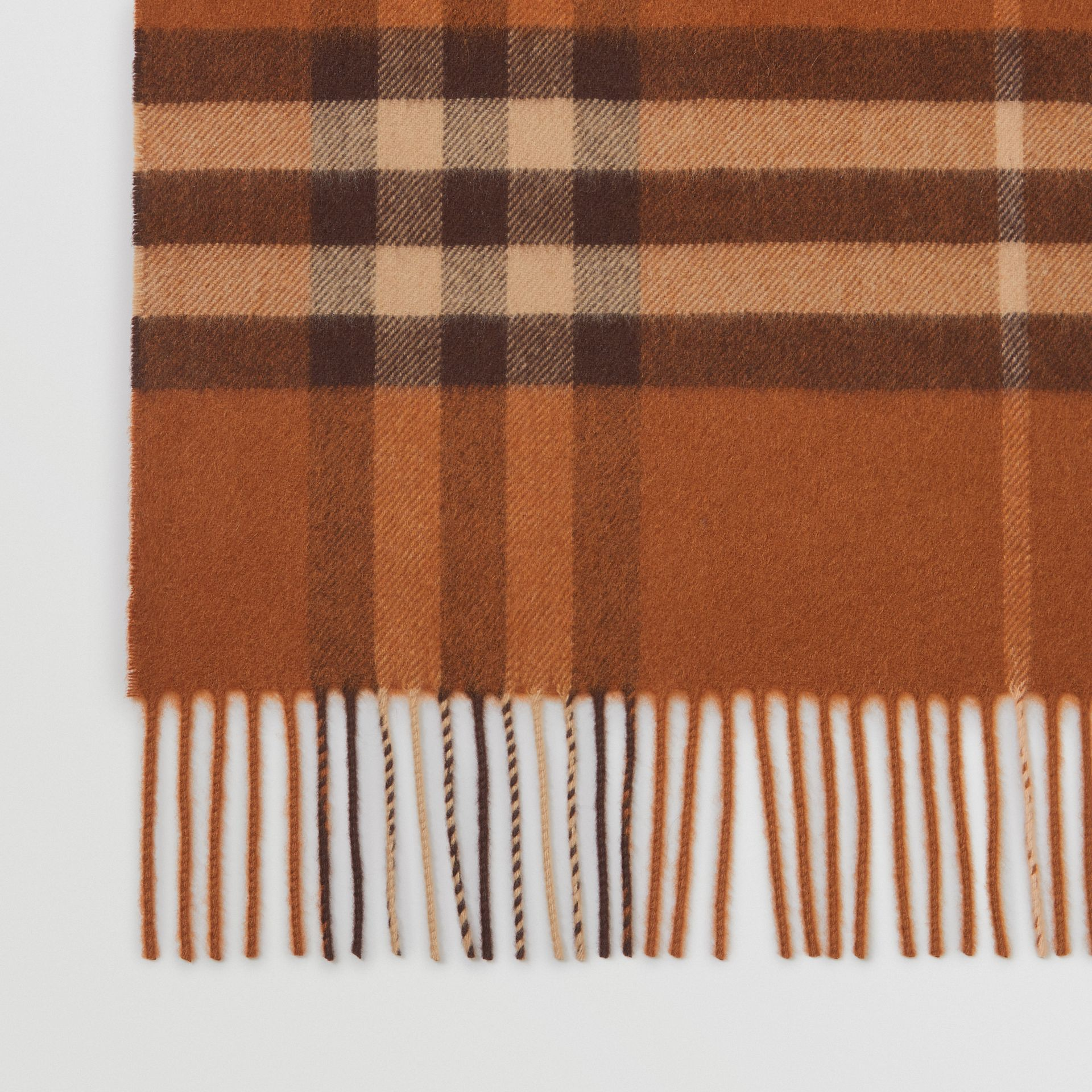 The Classic Check Cashmere Scarf in Chestnut | Burberry Australia - gallery image 1