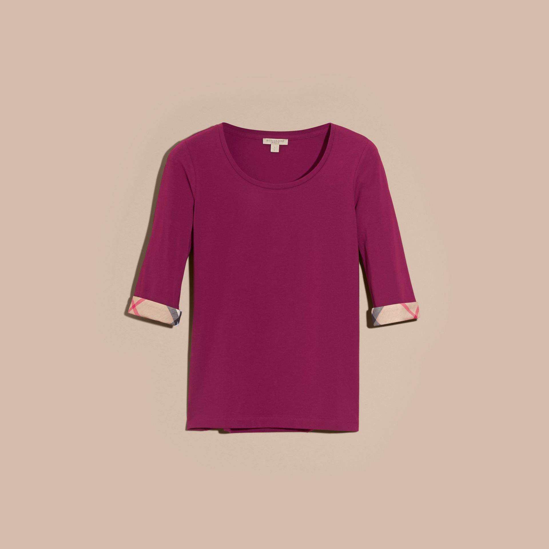 Check Cuff Stretch-Cotton Top Magenta Pink - gallery image 4